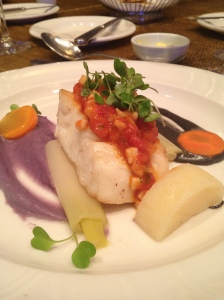 Pan-seared Coral Trout with minced squid concasse, dressed with squid ink sabayon and garlic mashed Ube