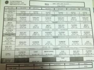 My Senior Year Schedule! Excited to meet my teachers! :D