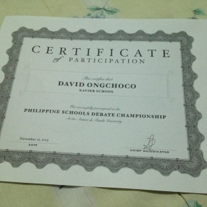 Certificate of Participation for my first and last PSDC