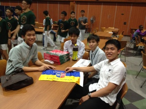 chilling with my teammates during quiz night after all the tiring debates!!