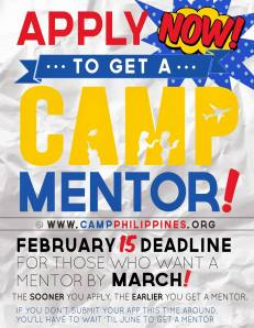 APPLY TO BE A CAMP MENTEE TODAY!