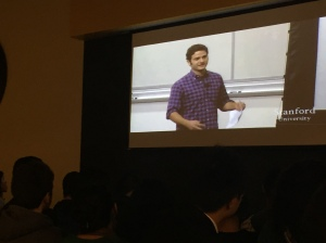 The cofounder of Facebook Dustin Moskovitz is a guest lecturer for the class