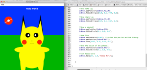 "My first program :) ""Hello World"" Pikachu edition"